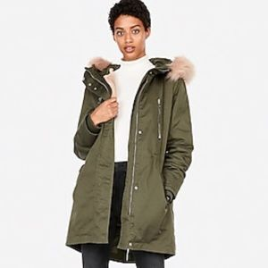 Express green coat zip-out faux fur lined anorak